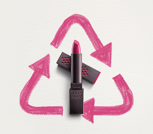 lipstick and recycling sign